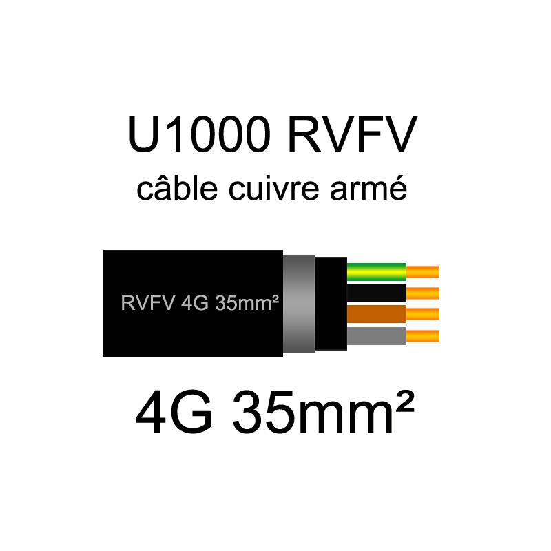 Câble électrique U1000 RVFV cuivre armé   1.5mm² à 95mm²