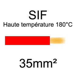 fil cuivre souple isolé silicone 35mm2 rouge