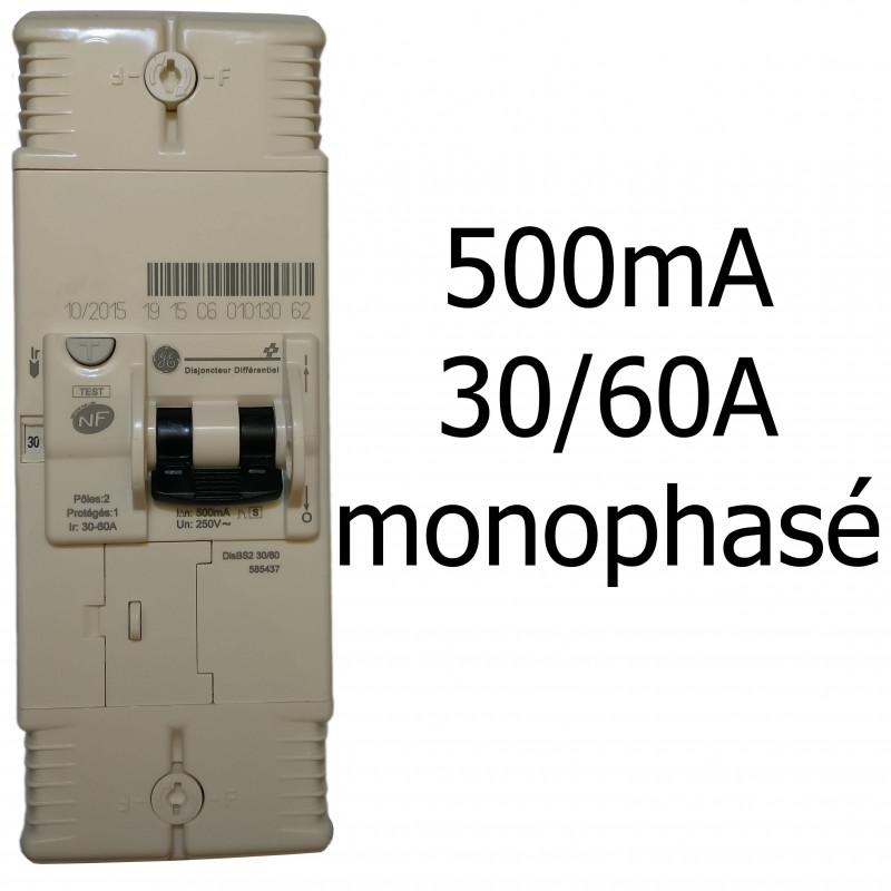 Disjoncteur 500mA 30/60A monophasé General Electric