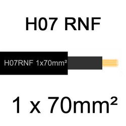câble électrique extérieur extra souple isolé caoutchouc néoprène H07RNF 1x70mm2