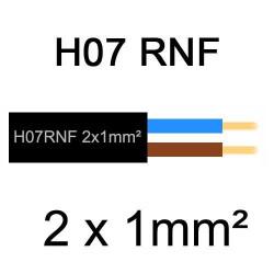 câble électrique extérieur extra souple isolé caoutchouc néoprène H07RNF 2x1mm2