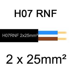 câble électrique extérieur extra souple isolé caoutchouc néoprène H07RNF 2x25mm2