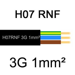 câble électrique extérieur extra souple isolé caoutchouc néoprène H07RNF 3G1mm2