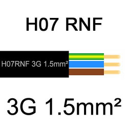 câble électrique extérieur extra souple isolé caoutchouc néoprène H07RNF 3G1.5mm2
