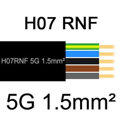 câble électrique extérieur extra souple isolé caoutchouc néoprène H07RNF 5G1.5mm2