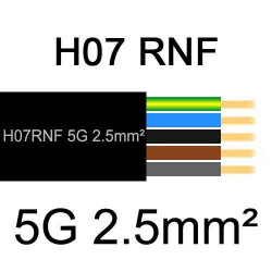 câble électrique extérieur extra souple isolé caoutchouc néoprène H07RNF 5G2.5mm2