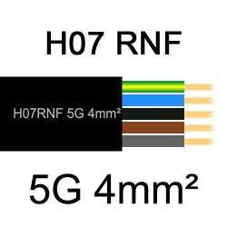 câble électrique extérieur extra souple isolé caoutchouc néoprène H07RNF 5G4mm2