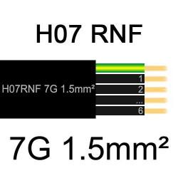 câble électrique extérieur extra souple isolé caoutchouc néoprène H07RNF 7G1.5mm2