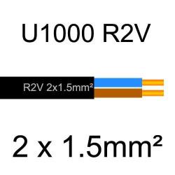 câble électrique cuivre U1000 R2V 2 conducteurs de section 1.5mm²