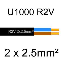 câble électrique cuivre U1000 R2V 2 conducteurs de section 2.5mm²