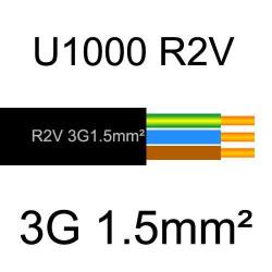 câble électrique cuivre U1000 R2V 3 conducteurs avec terre de section 1.5mm²