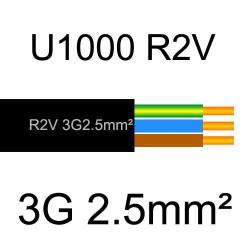 câble électrique cuivre U1000 R2V 3 conducteurs avec terre de section 2.5mm²