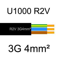 câble électrique cuivre U1000 R2V 3 conducteurs avec terre de section 4mm²