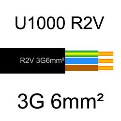 câble électrique cuivre U1000 R2V 3 conducteurs avec terre de section 6mm²