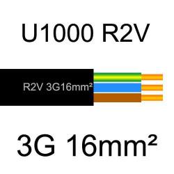 câble électrique cuivre U1000 R2V 3 conducteurs avec terre de section 16mm²