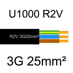 câble électrique cuivre U1000 R2V 3 conducteurs avec terre de section 25mm²
