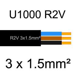 câble électrique cuivre U1000 R2V 3 conducteurs sans terre de section 1.5mm²