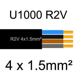 câble électrique cuivre U1000 R2V 4 conducteurs sans terre de section 1.5mm²