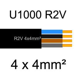 câble électrique cuivre U1000 R2V 4 conducteurs sans terre de section 4mm²