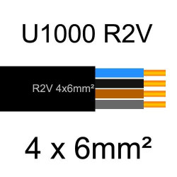câble électrique cuivre U1000 R2V 4 conducteurs sans terre de section 6mm²