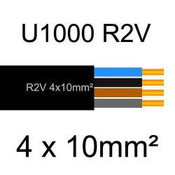 câble électrique cuivre U1000 R2V 4 conducteurs sans terre de section 10mm²