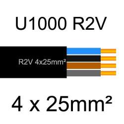 câble électrique cuivre U1000 R2V 4 conducteurs sans terre de section 25mm²