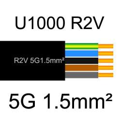 câble électrique cuivre U1000 R2V 5 conducteurs de section 1.5mm²