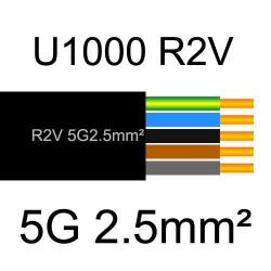 câble électrique cuivre U1000 R2V 5 conducteurs de section 2.5mm²