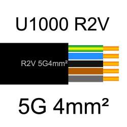 câble électrique cuivre U1000 R2V 5 conducteurs de section 4mm²