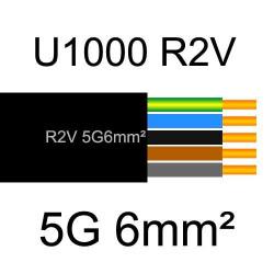 câble électrique cuivre U1000 R2V 5 conducteurs de section 6mm²