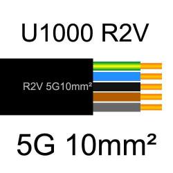 câble électrique cuivre U1000 R2V 5 conducteurs de section 10mm²