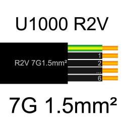 câble électrique cuivre U1000 R2V 7 conducteurs de section 1.5mm²