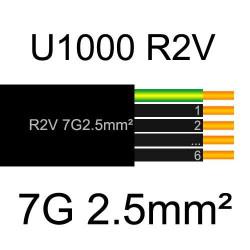 câble électrique cuivre U1000 R2V 7 conducteurs de section 2.5mm²
