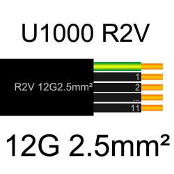 câble électrique cuivre U1000 R2V 12 conducteurs de section 2.5mm²
