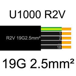 câble électrique cuivre U1000 R2V 19 conducteurs de section 2.5mm²