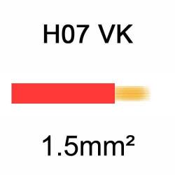 fil de câblage en cuivre souple isolé PVC série H07VK 1.5mm² rouge