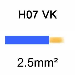 fil de câblage en cuivre souple isolé PVC série H07VK 2.5mm² bleu