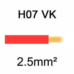 fil de câblage en cuivre souple isolé PVC série H07VK 2.5mm² rouge