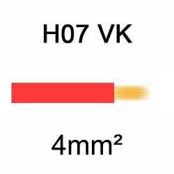 fil de câblage en cuivre souple isolé PVC série H07VK 4mm² rouge