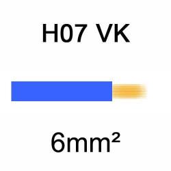 fil de câblage en cuivre souple isolé PVC série H07VK 6mm² bleu