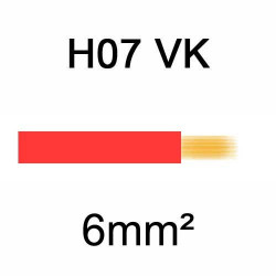 fil de câblage en cuivre souple isolé PVC série H07VK 6mm² rouge