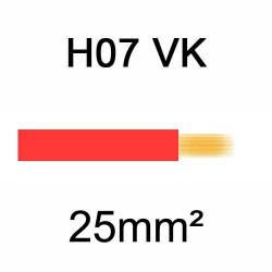 fil de câblage en cuivre souple isolé PVC série H07VK 25mm² rouge