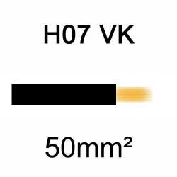 fil de câblage en cuivre souple isolé PVC série H07VK 50mm² noir