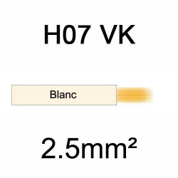 fil de câblage en cuivre souple isolé PVC série H07VK mm² 2.5mm² ivoire blanc