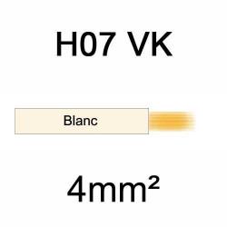 fil de câblage en cuivre souple isolé PVC série H07VK mm² 4mm² ivoire blanc