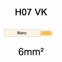 fil de câblage en cuivre souple isolé PVC série H07VK mm² 6mm² ivoire blanc