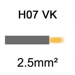 fil de câblage en cuivre souple isolé PVC série H07VK 2.5mm² gris