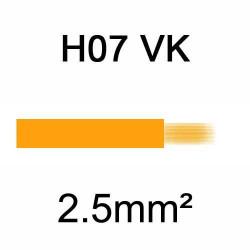 fil de câblage en cuivre souple isolé PVC série H07VK 2.5mm² orange