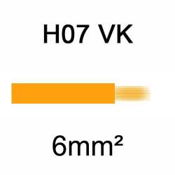fil de câblage en cuivre souple isolé PVC série H07VK 6mm² orange