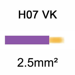 fil de câblage en cuivre souple isolé PVC série H07VK 2.5mm² violet